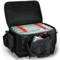 Geanta Spinning Fox Rage Voyager Large Carrybag Camo + 5 Cutii pentru Naluci, 38x24x28cm